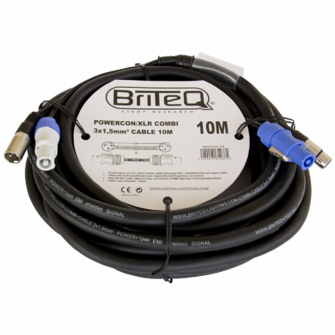 10m Powercon/DMX Combi Cable, 3-Pin XLR